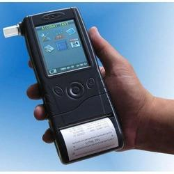 Police grade breath alcohol analyser suppliers in Hyderabad. 1.Electrochemical / Fuel Cell Sensor: The fuel cell is a porous disk with a thin layer of platinum black on both faces and any alcohol that comes in contact with the cell's surface is broken down chemically. For each molecule of alcohol that is broken down a given number of electrons are freed during the process. The numbers of electrons generated are in proportion to the amount of alcohol.   2.Built-in Printer: Can be detached from alcohol analyzer and become a standalone wireless printer.   3.Display: Color 3.2