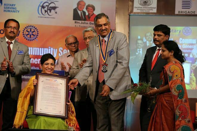 at  Award ceremony in Bangalore .award presented by rotary governer Mr Ananth