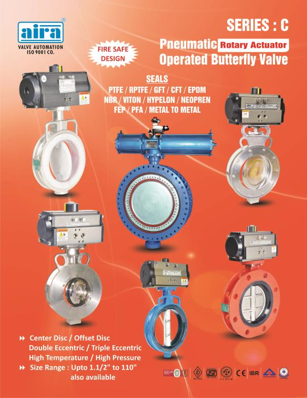 """Butterfly Valve Manufacturer - Aira Euro Automation's Butterfly Valves are competitive for its robust quality assurance and used in water works, power plants, sewage plants and petrochemical plants. Aira Euro is the largest valve manufacturer in India and we offer various type models in Pneumatic Butterfly Valve and manual Butterfly Valve which has top features and quality materials.   We are one of the manufacturer who offer Butterfly Valve size in 2"""" to 80"""" with Cast Iron, Cast Steel, Ductile Iron, CF8, CF8M and Gray Iron Body.  We also do exporter and supply our butterfly valve range to world wide as per customer requirements and drawing.  If you want to know about our butterfly valve range so please feel free to query box in below query section and send to us, we will send you all latest detail with latest price.  http://www.airaindia.com/valve-automation/butterfly-valve-manufacturer-and-exporters/"""