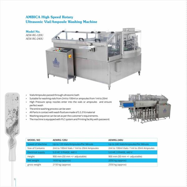 AMBICA High Speed Rotary Ultrasonic Vial/Ampoule washing Machine.