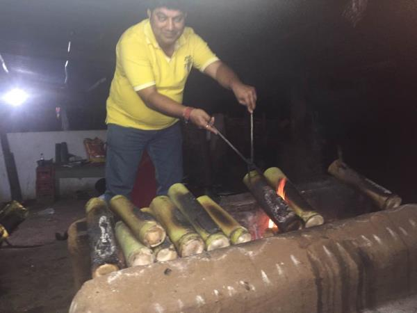 Learning the art of making bamboo chicken at the place it originated  Maredumilli. A dense forest after Rajamundry in Andhra Pradesh, India . An excellent culinary journey in the Andhra belt from lower sileru to Maredumilli. Also had the op - by Total Hospitality, Hyderabad