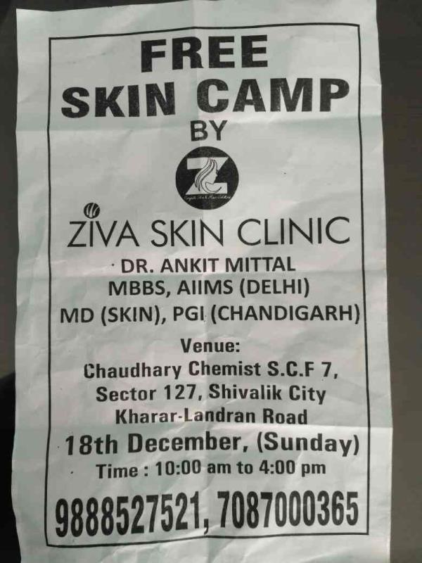 FREE SKIN CAMP ON SUNDAY, 18TH DECEMBER, AT CHAUDHARY CHEMIST, SHIVALIK CITY By ZIVA SKIN CLINIC, MOHALI BRANCH. Free consultation for skin diseases and cosmetic problems.