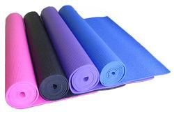 Yoga Mat Yoga Mat is most commonly used yoga equipment. The main purpose of the mat is to provide cushioning to the practitioner on a hard floor. But it is helpful in other ways too, it provides grip for your hands and feet and prevents you from slipping while practicing your yoga poses, thus enhancing your safety. These mats are useful in all poses as they improve balance and coordination of body parts  Features:   Extra Cushioning & Non-Slip Surface Anti-Slip Washing Instructions: Just Wipe Call for more information :9871198973