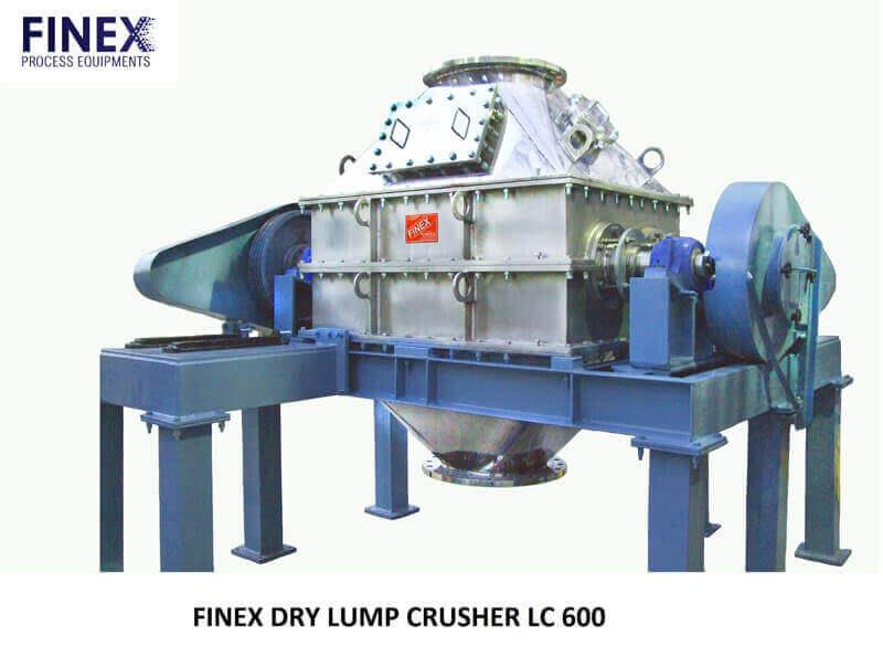LUMP CRUSHER   Finex Lump Crushers reduce hard or soft, heat sensitive, sticky or wet agglomerates and lumps at high volume. These straight-thru units employ extended cutting jaws that rotate completely through a heavy bar cage. Oversized solids up to the unit's full input opening size are reduced by this powerful processor. With each rotation, the jaws clean the slot openings making the unit automatically self-clearing.   Application:  Finex Lump Crusher is used to crush big lumps of the products listed below:  Coal	 Gypsum	 Sodium Bicarbonate  Detergent	 Herbicide	 Sugar  Fertilizer	Pet Coke	 Terephthalic acid  Filter Cake	 Salt	PTA/CTA  Frozen Vegetables	 Soda Ash   Finex Process Equipments is a leading manufacturer & supplier of Lump Crusher Machine in Arizona, USA.