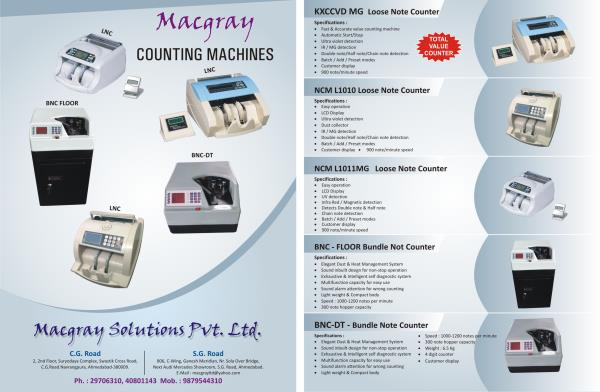 Macgray Banking - Currancy Note Counting machine from Macgray Loose note counting and Bundle Note Counting Machine for Banks, Retail store , Petrol pump , jwellers ,  - by Macgray Pvt  Ltd, Ahmedabad