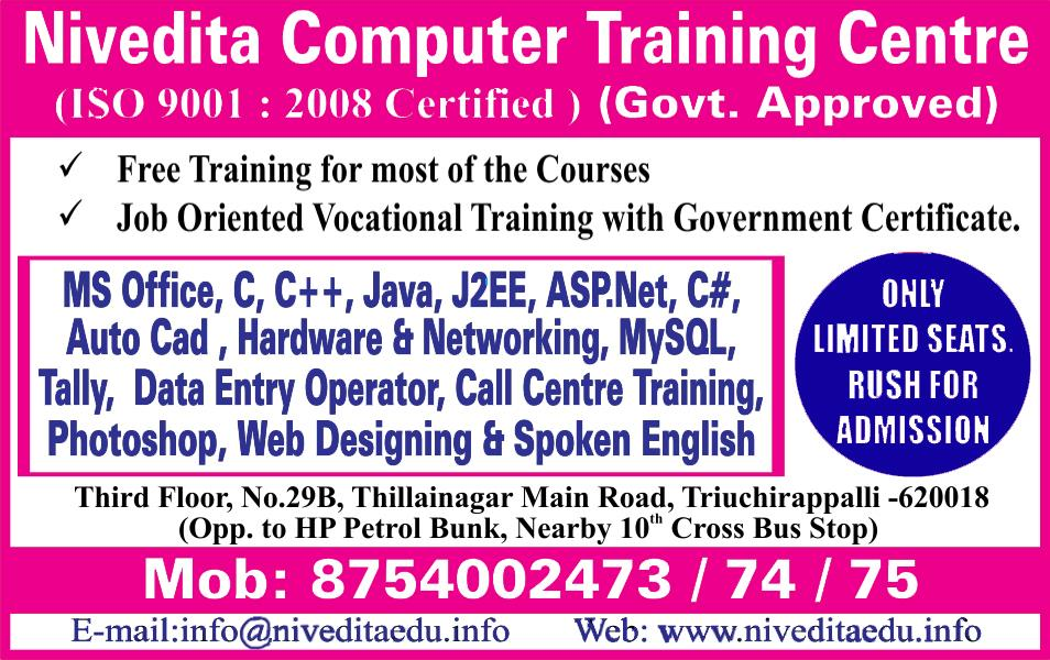 Best computer training centre in Trichy - by Nivedita Career Academy, Trichy