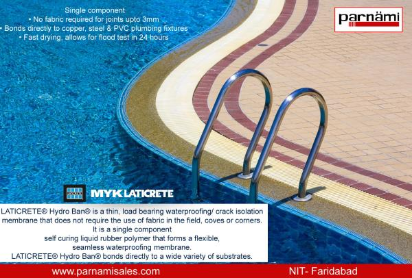 MYK LATICRETE WATER PROOFING AVAILABLE AT PARNAMI SALES:  Waterproofing is the formation of an impervious barrier, which is designed to prevent water entering or escaping from various sections of building structures, yet allowing the vapour - by Parnami Sales Corporation, Faridabad