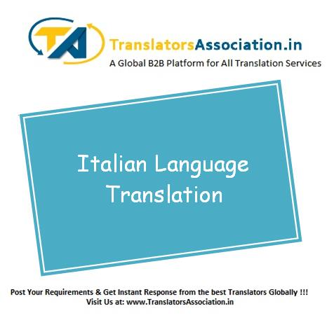 English to Italian Translation in Delhi  Italian Translator of all Domain are listed on our website . Post your translation query.  Get instant response from expert.  http://www.translatorsassociation.in/postnow/post.php