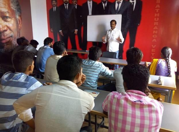 """The theory session on """"INTRODUCTION TO EDTING"""" was taught by Mr.S.Nagarajan (Editor) for PALME DEOR FILM & MEDIA COLLEGE, High End Professional students of Diploma in Digital Cinematography and Diploma in Direction & Screenplay Writing Diploma in Visual communication and  Diploma in Digital Editing courses on  20-12-2016."""