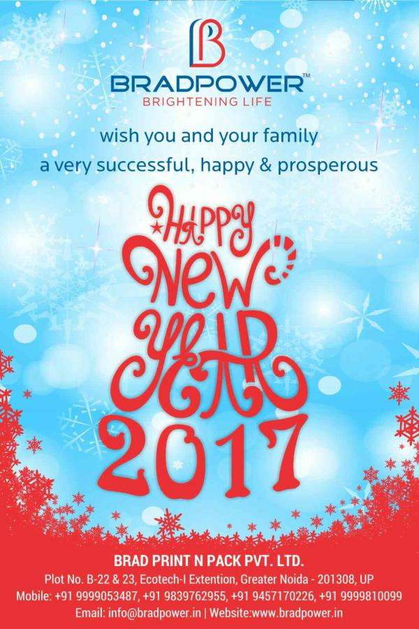 WISH YOU ALL VERY HAPPY AND PROSPEROUS NEW YEAR 2017..  For more info www.bradpower.in - by Bradpower solar panel @9999810099, Greater Noida