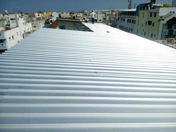 Metal Roofing Sheets:  Reflective surfaces are surfaces that can deliver high solar reflectance (the ability to reflect the visible, infrared and ultraviolet wavelengths of the sun, reducing heat transfer to the surface) and high thermal em - by JUPITER ROOFING TECHNOLOGY @ 9444413417, Chennai