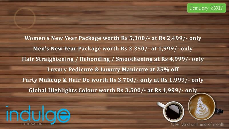 Jan Offer: Straightening 4999, Makeup& HairDo 1999, Global HiLts 1999, Luxury Manicure/Pedicure 25%off, Men's Package 1999, Women's Package 2499 - by Indulge The Salon, Bhubaneswar