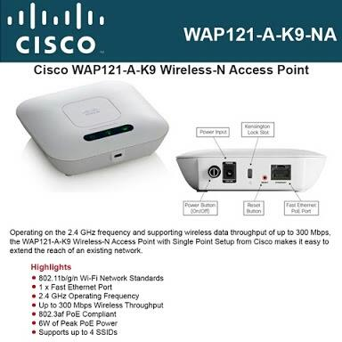 Supplier of CISCO N300mbps wireless access point for your Home and Office in Mumbai, India  *Cisco WAP121 ( N300 ceiling mountable POE wireless access point with Power Adapter ).*  Coverage - Approx 800 -1000Sqft.  User support - approx 20 -25  *For more details, please email us at  it@3aexports.com or visit us at  www.3aexports.com
