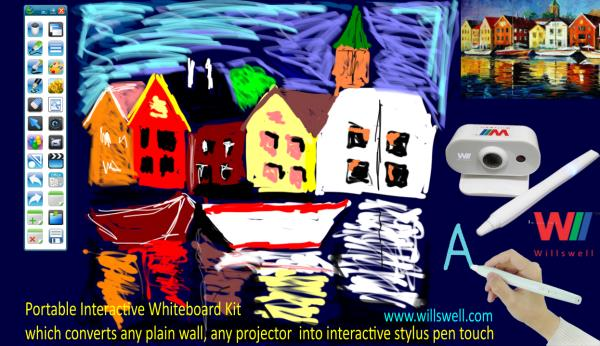 Enjoy painting, sketching using Interactive Whiteboard kit. Simply open existing images and start copying and sketching... Use unlimited colours from the colour pallet. This is one of the use of Interactive Whiteboards in the digital classrooms.Surely kids will be more interested in drawing arts.  For more info please visit: http://willswell.com/interactivewhiteboard/