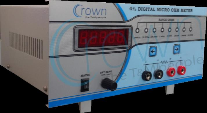 4½ Digit Digital Mircro Ohm Meter CES-200  CROWN 4½ Digit Digital Micro Ohm Meter is a Very Popular Model. 4½ Digital Micro Ohm Meter is emphasis in the design of the instrument has been to provide quick , stable & repeatable reading of res - by Crown Electronic Systems, New Delhi