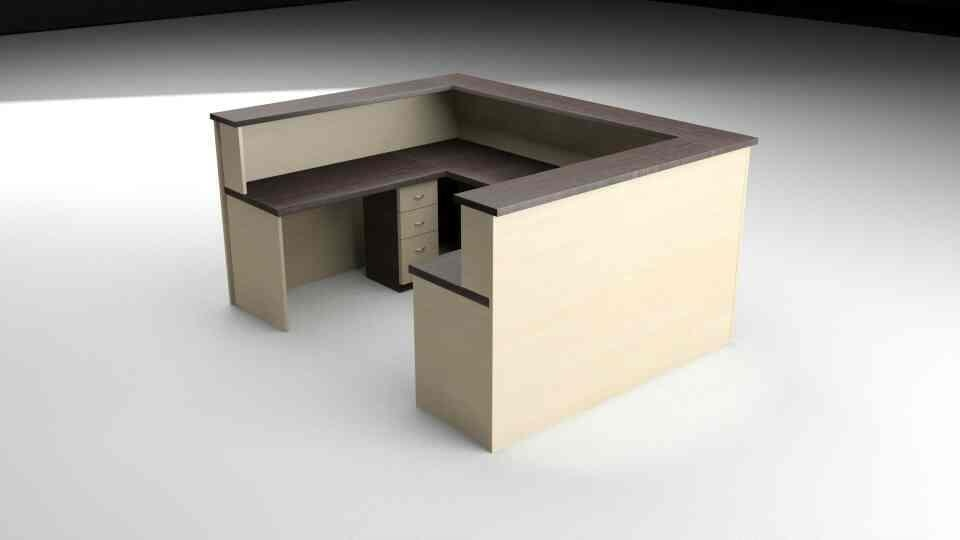 Modular Reception Table with Drawers and storage for Office use.