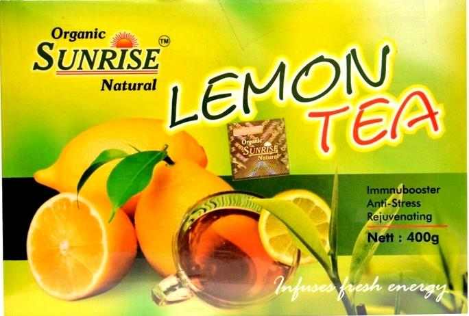 Organic Lemon Tea:                     Organic Sunrise Natural Lemon Tea is a perfect blend of herbs & spices. It reduces obesity, manages Fat metabolism, maintains physical structure. This blend help improve digestion, enhances stamina, eliminates toxins from body, maintains blood pressure, removes foul odur from mouth, relieves throat irritation. It has antioxidant properties. A natural laxative. Rich in Vitamin A & C. Above all a soothing hot drink for all age groups deliciously blended.  INGREDIENTS :    Tea, Black Salt, Sugar, Cardamom, Lemon, Dry Ginger, Tulsi, Black Pepper, Clove, Jeera and Mulathi.  Nutrition Information: per kg  9.14 gr carbohydrate 0.08 gr Vitamin A 0.113 gr Vitamin C 0.207 gr Protein 38.39 k calories. Preparation :  Add one spoonful of Organic Sunrise Natural Lemon Tea in 80 ml of hot water, stir well, the tea is ready to drink.  Directions For Use (ORAL):  Drink 3-4 times a day before meals.  Store in a cool & dry place.  Keep away from direct sunlight  NO SIDE EFFECTS