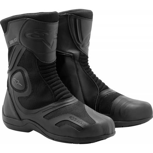 ALPINESTARS AIR PLUS GORE-TEX XCR BOOT  The Air Plus Gore-Tex® XCR Boot's innovative design features a waterproof and breathable GORE-TEX® XCR membrane layered under a well ventilated mesh outer construction that ensures your feet stay comfortably dry in all-weather conditions. Dual-density ankle cups and internal heel and toe counters provide exceptional safety and support.   Features:  ·     Air mesh main construction is layered with highly breathable materials for superior ventilation and features over-injected soft PU reinforcements.  ·     Waterproof and breathable Gore-Tex® XCR membrane provides outstanding weather protection and ensures the feet stay comfortably dry in all conditions.  ·         Soft-quilted accordion stretch zones offer exceptional riding comfort.  ·         Seamlessly integrated molded shin protector affords exceptional impact protection.  ·         Dual density ankle cups are backed with perforated foam inner padding for protection and comfort.  ·         Internal heel and toe counters for enhanced structural integrity.  ·         Injected PU shifter area ensures high levels of comfort and durability.  ·     Removable anatomically perforated foot bed grants the foot a more natural posture when riding and walking.  ·         Rear reflective insert for improved nighttime visibility.  ·         Alpinestars' exclusive vulcanized rubber compound sole.  ·    Contoured, injected high modulus polyamide midsole and high modulus plastic shank reinforcement prevents excessive deformation of the boot during an impact event while maintaining high levels of comfort and control.  ·       Innovative side entry opening/closure system features an elastic mounted zipper and wide Velcro flap for precise, comfortable closure.  ·         The Air Plus Gore-Tex® XCR boot is certified.