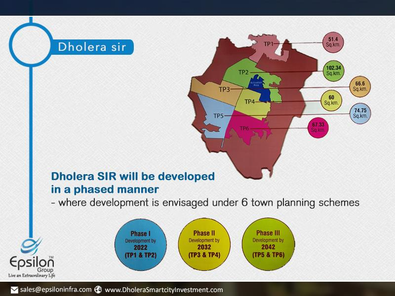Where development is evvisaged Under 6 town Planning Schemes  Phase 1 development by 2022 (TP1 & TP2) Phase 2 development by 2032 (TP3 & TP4) Phase 3 development by 2042 (TP5 & TP6)  #Dholera-SIR #Dholera-SIR-Project #Dholera-SIR-Property # - by Dholera Smart City Residential Plots, Ahmedabad