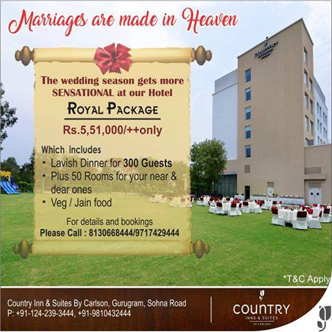 Make marriages a #dream come true at our hotel where we offer end to end solution for hosting a lavish marriage gathering and make sure it's an unforgettable #event for the #rest of our lives. Our offer makes it a #royal one where we are of - by Country Inn & Suites By Carlson, Gurgaon Sohna Road, Gurgaon