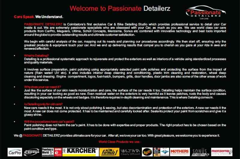 Car detailing in COIMBATORE - by PASSIONATE DETAILERZ, Coimbatore