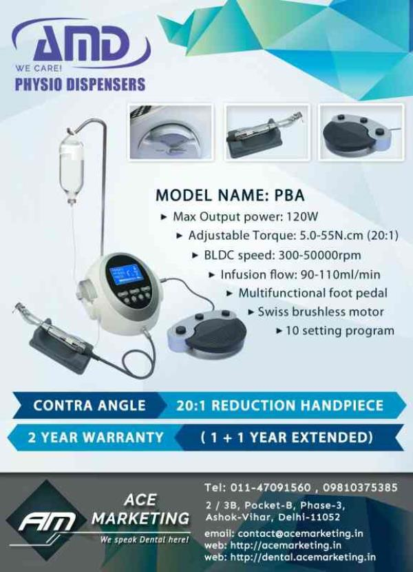 Best Physiodispenser In India   AMD Physio Dispenser Model PB Analog  AMD Physio Dispenser Model PBA   Ace Marketing presents an Implant Motor with a most Easy & Effective Design.  At Ace Marketing we have been Assembling & Marketing this p - by Ace Marketing, Delhi