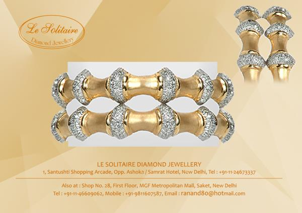 Asparagus Bangles Hand crafted Gold and Diamond Bracelet just to fit right on your wrist. - by Le Solitaire, New Delhi