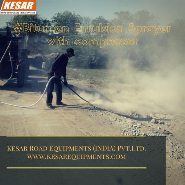 Kesar Road Equipments Exporter And Manufacturer Of Bitumen Emulsion Sprayer with compressor In Gujarat, India  Tractor linked tyre mounted Bitumen-Emulsion  Sprayer  with  Compressor  for  road  dust  cleaning is developed for tack / prime coat by  hand spraying arrangement and intermittent  spraying application with road dust cleaning  also.  This  equipment  is  capable  of  applying  uniform coating of Hot Bitumen & Emulsion on  specified surface. A perfect cleaning system cleans the bitumen  pipe-line after used. Spraying pipe length up to  5 mtr. & dust cleaning pipe length up to 10 mtr. Machine fitted drum loading system with chain  pulley block of 1 Ton capacity.   For Detail About Price Of Any Road Construction Product Than Contact Us www.kesarequipments.com
