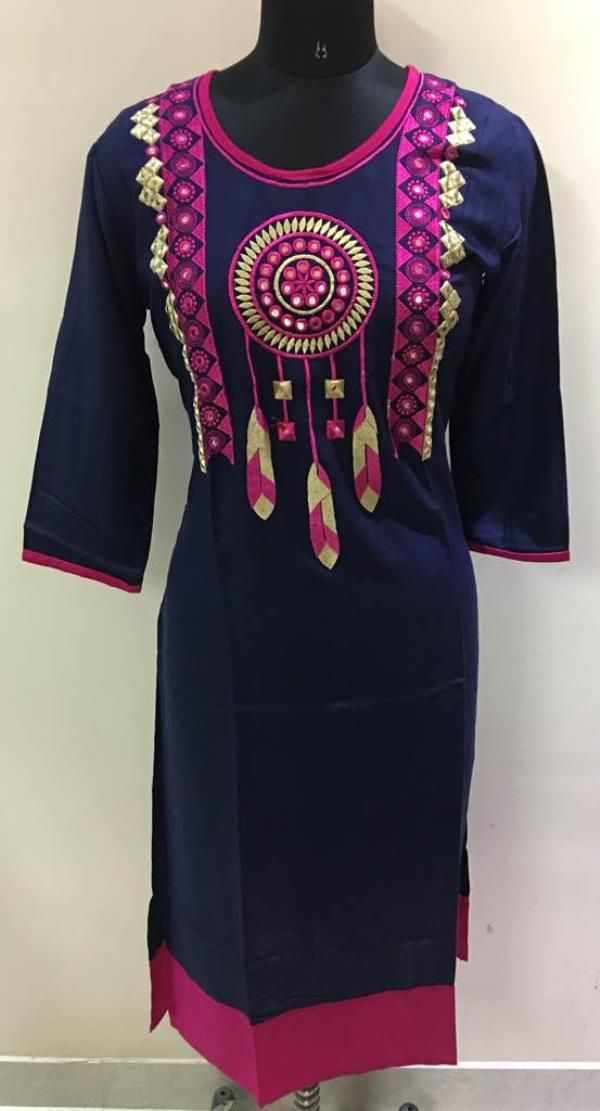 Kurtis manufacturers and wholesalers from Jaipur India. Golden thread is one of the leading Embroidery kurti manufacturer with very exclusive designs in cotton slub rayon and rayon slub kurtis.