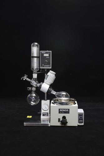 Rotavapor in Hyderabad senco Rotary Evaporator 10 Litre  Senco Rotary Evaporator with high Vacuum rate. Our Best performing Rotary Evaporator have big condensing surface Area for efficient distillation. The double loop condenser coil of the rotary evaporator gives higher condensation and receiving rates. Highest Quality perfectly engineered PTFE seal assembly of the rotary evaporator gives extended high life. Simple electronic control panel of Senco rotavapor requires lesser maintenance. Strong boro silicate glass parts are used in our rotary evaporator. PT-100 temperature sensor of our rotary evaporator gives high precision temperature control. Ac-Induction motor of our Rotary evaporator is noiseless and maintenance free.