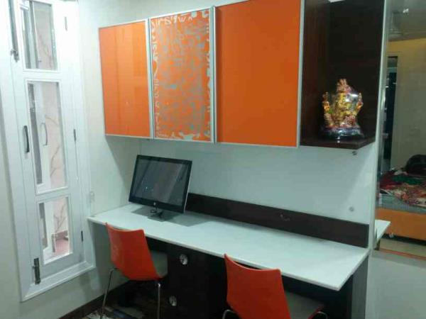 study table with designer overhead cabinet manufacturer in Naraina industrial area phase 1