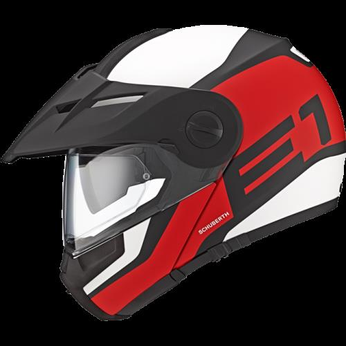 SCHUBERTH E1 HELMET  EXPLORE YOUR LIMITS - ON AND OFF ROAD  The characteristics and functionality of a flip-up helmet combined with the looks and the feel of an adventure helmet.  OUR DUAL SPORTS HELMET FOR ADVENTURERS:  ·         The comfo - by Orion Motors India, Bengaluru