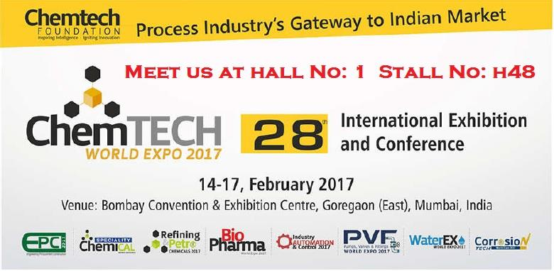 We are glad to inform you that we participate in ChemTech World Expo 2017 from 14 FEB to 17 FEB 2017, - Bombay Convention & Exhibition Centre, Goregaon (East), Mumbai, India.  Meet us at Hall No: 1 Stall No: H48   This is a perfect opportun - by RASAII FLOW LINES PRIVATE LIMITED, Chennai