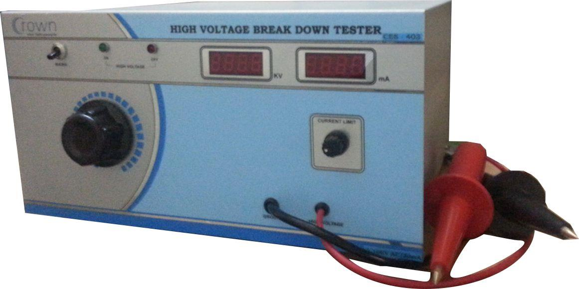 High Voltage Breakdown Tester 0 - 10KV / 30mA  CROWN High Voltage Breakdown Tester 0 - 10KV / 30mA is a Popular product & it is in demand nowadays. High Voltage Breakdown Tester is useful for measurement  of Breakdown Voltage of Electrical  - by Crown Electronic Systems, New Delhi