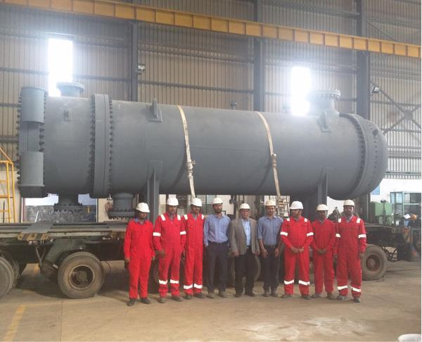 One of the 15 Heat Exchangers dispatched for ONGC Uran Plant. ( Weight 54 Metric Tons)