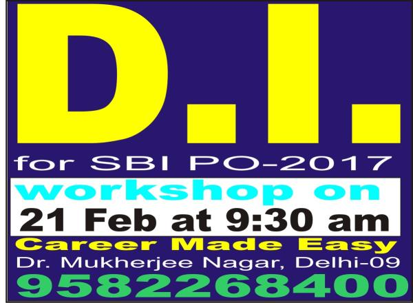 """""""SBI PO 2017  Data Interpretation classes is about to start """". Admission open .. - by Career Made Easy 