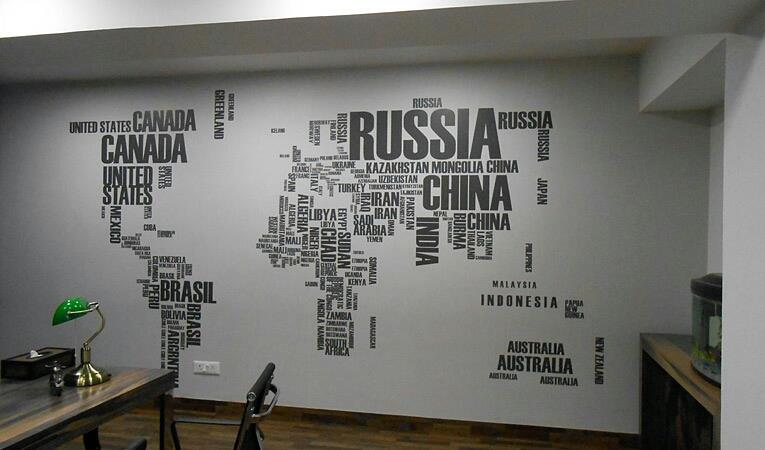 World map esteem wallpapers in chennai india wallpaper for office and commercial in chennai we can use world map with sorted styles gumiabroncs Image collections