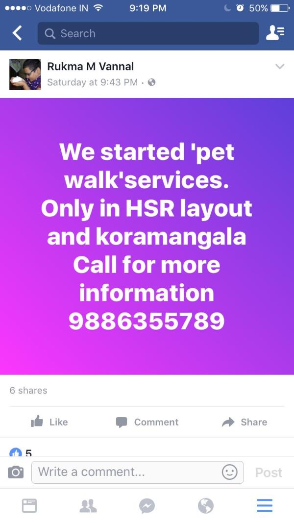 #Koramangala  Pet parents in HSR layout and Koramangala, a friend has started dog walking and pet sitting for living and she is good. Do contact her. RT pic.twitter.com/WguJITcKys  — Priyanka Lahiri (@lahirip) February 8, 2017 - by EarthStartups, Bangalore