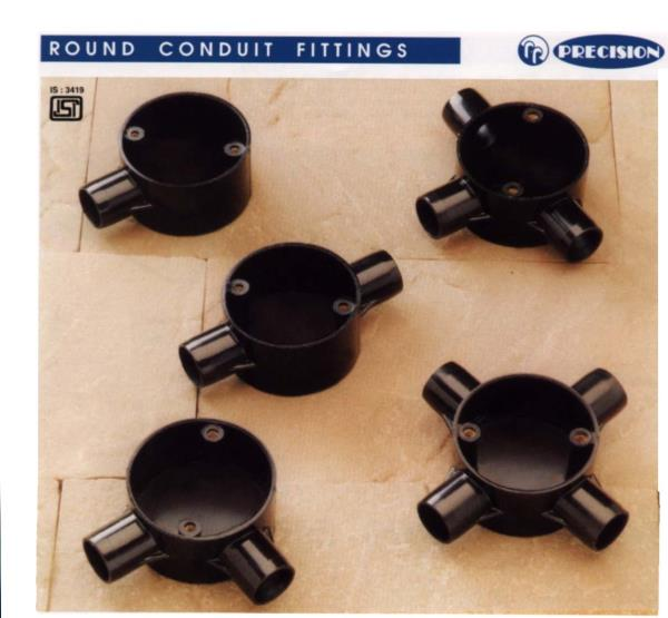 Precision Round Conduit & Fittings are manufactured from a specially formulated unplasticised polyvinyl chloride (UPVC) to meet the most stringent Indian and international standards. Our products are made of Extra Super High impact materials which make them safe to use in harsh environments. The products are manufactured in accordance with IS: 9537 Part 3, BS: EN 61386 - 21 for UpVC conduits, IS: 3419 and BS: 4607 for UPVC fittings.  PRECISION PVC PIPES DELHI MAHAVIR ELECTRIC PRECISION PIPES DELHI PRECISION DELHI PRECISION PVC PIPE PVC PIPE DELHI