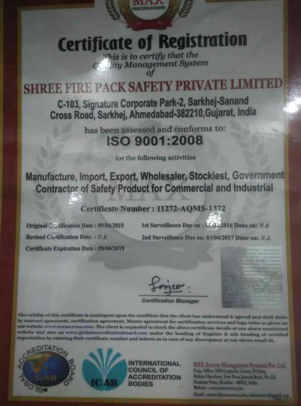 Shree Fire Pack Safety Pvt Ltd is the ISO 9001 : 2008 Certified comp..For more info visit... https://t.co/EeCsblLqd7 https://t.co/6PYRGPxJC8