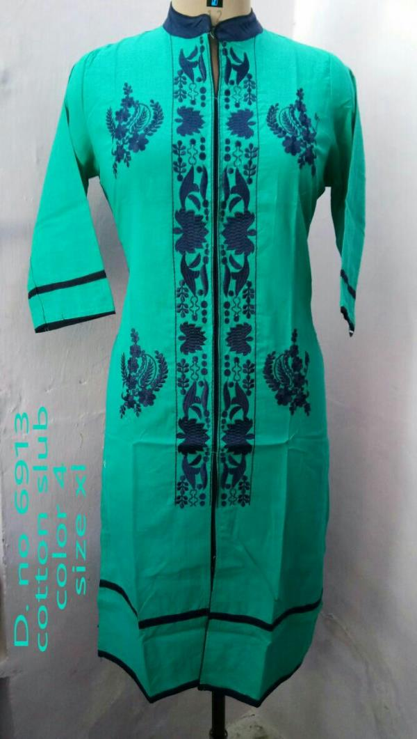 cotton slub Kurti wid embroidery with best quality of material we are from Krishnaa Trade fab JAIPUR for more information contact us at  9928671159