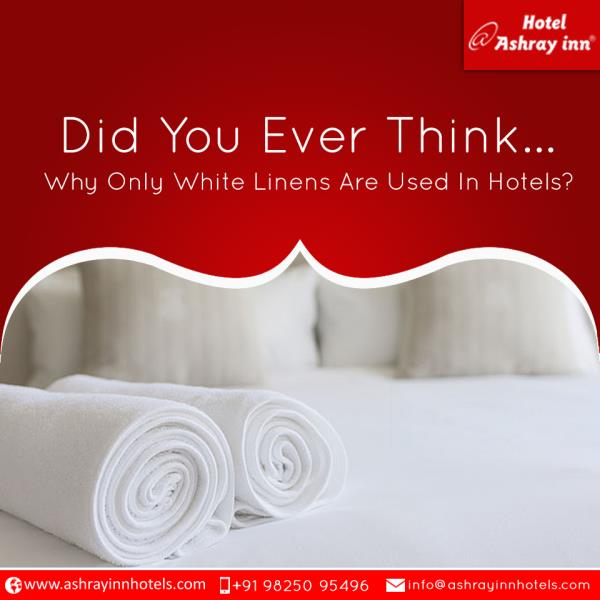 Did You Ever Think Why Only White Linens Are Used In Hotels?  Most of the hotels round the globe use only white linens, here are 3 good reasons  They give you a clean look and feel, this is the only colour which when clean gives you a spotless impression.  White towels and linens are easy to clean as hotel authorities need to clean in bulk; they use only one type of strong detergent that is especially for white clothes.  It brings a consistency, if you use prints you might not get same print for 200 rooms of your hotel, but white linens can be bought from multiple dealers.