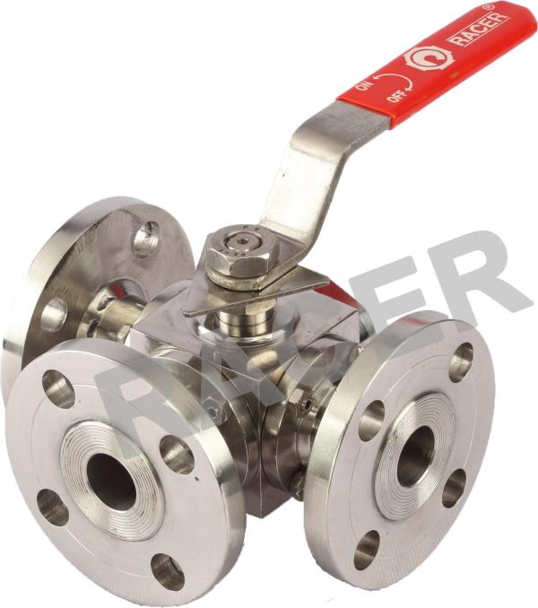 RACER VALVES IS LEADING MANUFACTURER OF THREE WAY BALL VALVES IN AHMEDABAD, GUJARAT, INDIA. THREE WAY BALL VALVES, FULL BORE WITH FLANGE ENDS TO ASA 150# DRILLED, S.S 'T' & 'L' PORT DESIGN BALL & STEM, PTFE SEAT & SEAL, HAND LEVER OPERATED, - by RACER VALVES, Ahmedabad