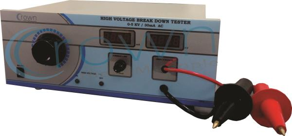 HIGH VOLTAGE BREAKDOWN TESTER 0 - 5KV / 30mA  CROWN High Voltage Breakdown Tester 0 - 5KV / 30mA is a Popular Product. High Voltage Breakdown Tester is useful for measurement of breakdown voltage of electrical transformer ,  Cables & Wires, - by Crown Electronic Systems, New Delhi