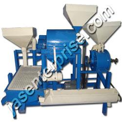 Avail from us, our range of mini dal mills is use for making carrying different processes cleaning and grading, pitting, Pre-treatment with Oil & water, conditioning, de-husking & splitting. Jas offer mini dal mill. This mini dal mill is simple in construction and easy to operate & maintain. It consist of horizontal tapered roller is covered with emery coating, surrounded by a screen through which the husk is discharged. The shelled dal passes through an aspirating fan on the oscillating sieve unit, where appropriate grading of dal is done It is run by motor. Automatic arrangement are made for collection of de husked and split dal , un de husked and split dal, un de husked dal , bracken, husk in separate containers and bags. This machine offers dust free operation, does not cause pollution, retains proteins, natural shine etc ... motor is provide with a pulley and is mount at the bottom of the stand with V-belt to drive it.Key  Features of Mini Dal Mill: Unique and Reliable Design.  The Mini Dal Mills are highly effective as well as nonstop continuous pulverizing process. Easier operation & Less Maintenance Cost.Retains proteins and natural shine. Compact size  Cost of transportation saved Additional income through sale of seed coats as cattle feed. .Improved yield of 'Dal' due to use of morden milling technology  Easier operation & less maintenance cost  Standard accessories of Mini Dal Mill (Pulse Mill) Motor Pulley. Adjustable Rail for Fixing Motor. Extra Accessories of Mini Dal Mill Suitable totally enclosed fan cooled three phase or Single Phase Sq. cage motor {Electricity (Special power can be accommodated): 110/220/380/415 Volts, 50/60 Hz , 1/3 Phase } Suitable miniature circuit breaker as per IS: 8828 with 3 meter cable & 3 pin top as per IS: 1293 for single Phase Electric Motors or starters, main switch, ampere meter, capacitor for Single Phase Electric Motor. foundation bolts V Belts