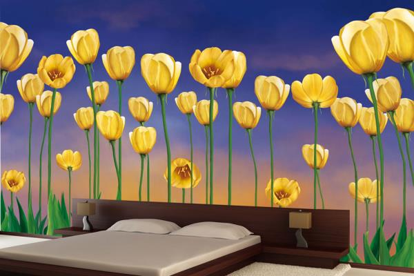 This Bright Yellow Flower Wallpaper Design manifesting some sparkling yellow poppies with sleek fresh green stems is right here to take the entire spotlight.   For More Info: https://www.wallsandmurals.com/floral-wallpaper   Flower Wallpape - by Walls and Murals, New York