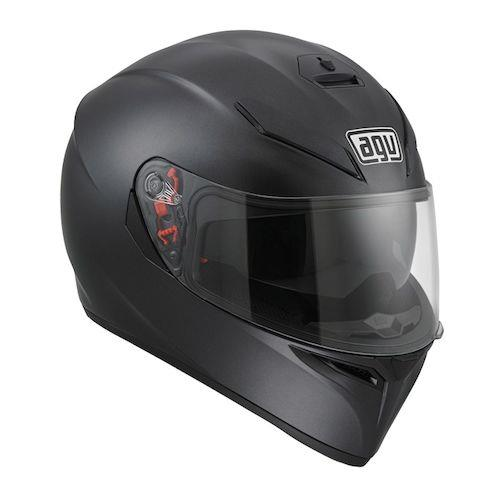 AGV K-3 SV SOLID HELMET: BLACK  The AGV K3 SV Helmet builds on AGV's extensive experience in designing the Pista GP and Corsa helmets as well as the legacy of the original K3 helmet. An aerodynamic shell shape is optimized for stability and aggressive aesthetics and features an integrated, compact rear spoiler to reduce turbulence. The narrow chin bar is streamlined to help the helmet cut through the wind at high speeds, further increasing stability.  The AGV K3 SV helmet incorporates a drop-down sun visor, making the helmet a tour de force, aggressive street or touring helmet. The K3 is also communication-ready and features speaker pocket cut outs to minimize discomfort caused by Bluetooth speakers pressing into your ears. The AGV K-3 SV Helmet is an excellent choice for any rider who values sophisticated, modern design in a safe and feature-rich package.  Features:  ·         HIR-TH (High Resistance Thermoplastic Resin) shell construction  ·         2 shell sizes  ·         4 EPS sizes optimized using the FEM (Finite Elements Analysis) system  ·         Ventilation system was designed and optimized in a wind tunnel  ·         4 front vents (3 at the forehead and one on the chin guard) and 2 rear extractors vents  ·         XQRS (X-tra Quick Release System) visor mechanism for tool-free removal and replacement of the faceshield in seconds  ·         Faceshield mechanism features PVS (Perimetrical Visor Seal) for improved seal and protection against drafts and wind noise  ·         GT2 scratch-resistant, anti-fog polycarbonate visor with 100% protection from UV rays  ·         GT2 face shield has improved peripheral vision thanks to the specially-shaped profile of the aperture  ·         Integrated drop-down Sun Visor (ISV) is scratch-resistant and can be replaced easily and without special tools  ·         Removable breath deflector  ·         Removable windproof chin strap protection  ·         Fully removable and washable 3D inner liner and cheek pads are sanitiz