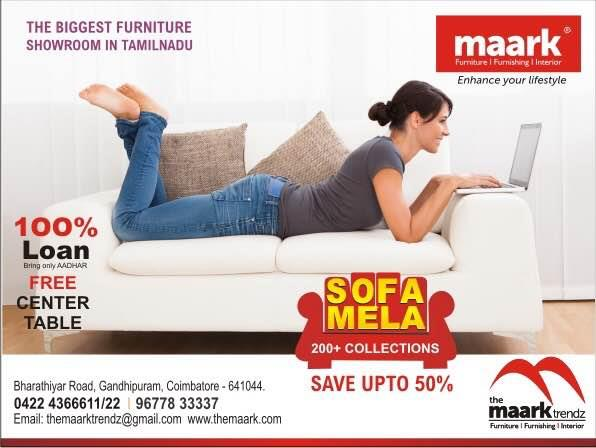 The Maark trendz  'SOFA MELA' save upto 50%, free centre table, 100% loan, exchange facility , free home delivery.contact-9677833337