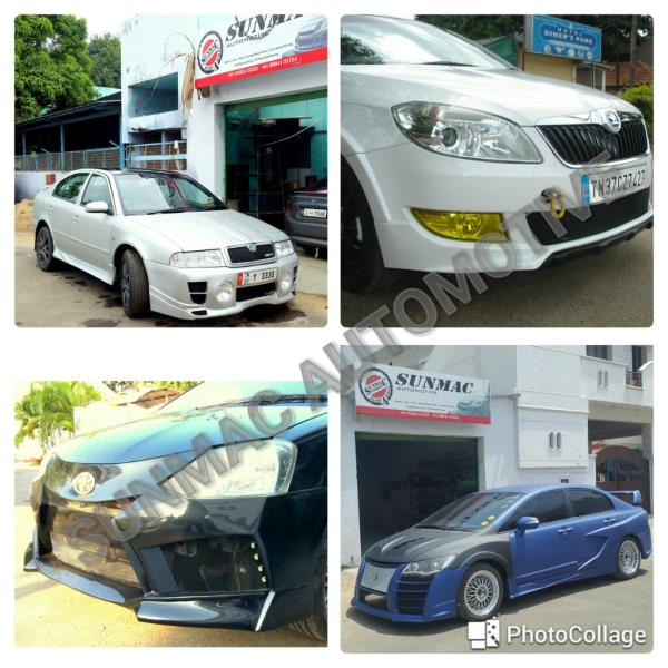 Car modification in Coimbatore  Front bumper modification ,  Rear bumper modification ,  Front skirt ,  Rear skirt ,  Side skirts ,  Spoiler ,  Bonnet modification,  Painting works ,  Tinkering works - by Sunmac Automotive, Coimbatore
