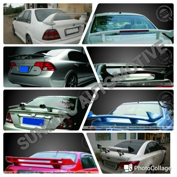 Car spoilers in Coimbatore  Front bumper modification ,  Rear bumper modification ,  Front skirt ,  Rear skirt ,  Side skirts ,  Spoiler ,  Bonnet modification,  Painting works ,  Tinkering works - by Sunmac Automotive, Coimbatore